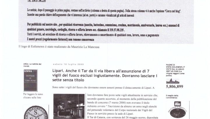 Il Tar dà il via libera all'assunzione di 7 vigili del fuoco esclusi ingiustamente – Eolie News