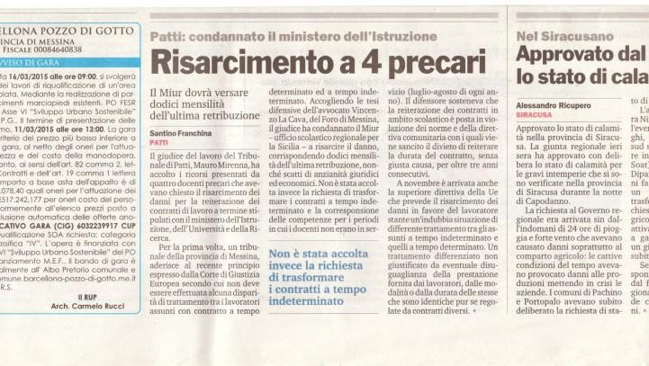 Risarcimento a 4 precari – Giornale Di Sicilia