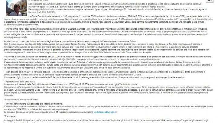 """""""Buona Scuola"""", avviato ricorso collettivo – Notiziario Eolie"""