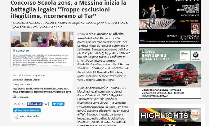 """Concorso Scuola 2016, a Messina inizia la battaglia legale: """"Troppe esclusioni illegittime, ricorreremo al Tar"""""""